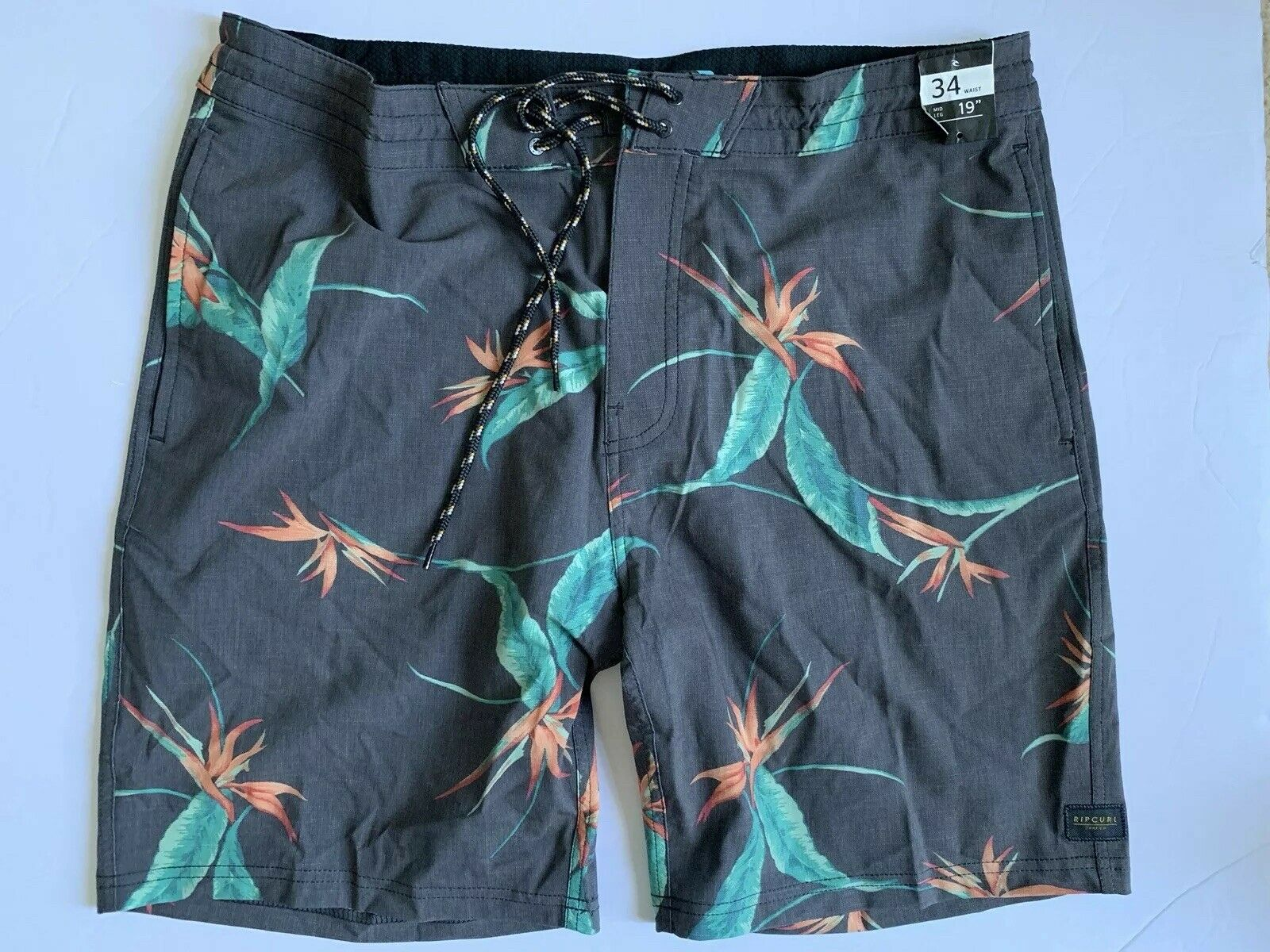 e4ede49e NWT CURL MEN'S LAY DAYS Brown PRINT BOARD SHORTS 34 FLORAL RIP ...