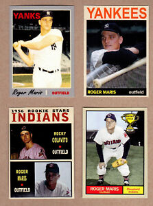 ROGER-MARIS-LOT-OF-4-ROOKIE-YEAR-61-HRS-WITH-COLAVITO-CLEVELAND-INDIANS