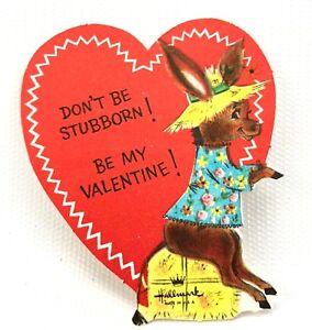 Vtg-Hallmark-Donkey-Valentines-Card-Ephemera-Paper-Burro-Greeting-1940s-1950s