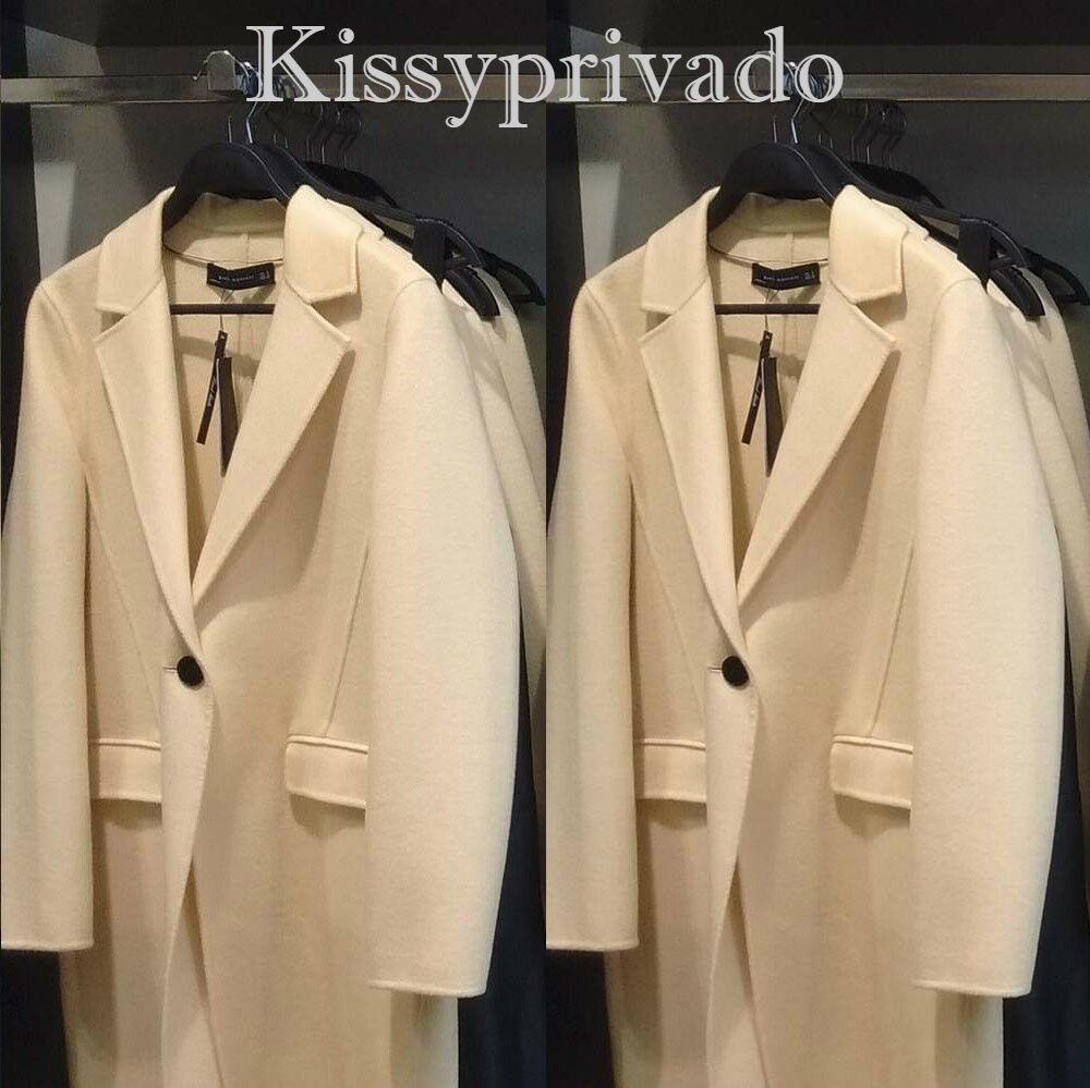 ZARA Yellow Handmade Wool Blend long Coat with Lapels M BNWT 7522 049