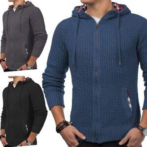 Hommes-tricot-veste-Cardigan-zip-Hoodie-capuche-pull