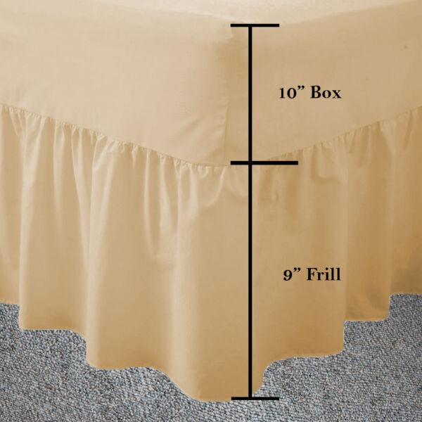 100% Kwaliteit Double Latte Frilled Fitted Valance Sheet Plain Dyed Fitted Valance Sheets Latte Rijk Aan PoëTische En Picturale Pracht