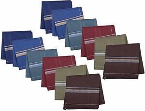 100/% Cotton Mens Gents Handkerchiefs Hankies 42cm x 42cm 6pcs Dark colour pack