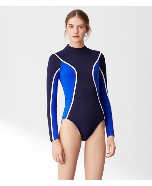 NWT- Tory Burch Sport Neoprene Long-sleeve Swimsuit Surf Shirt Größe M  295