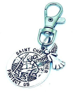 St Christopher /& Guardian Angel swivel keyring Lucky bag Charm clip Gift Mother