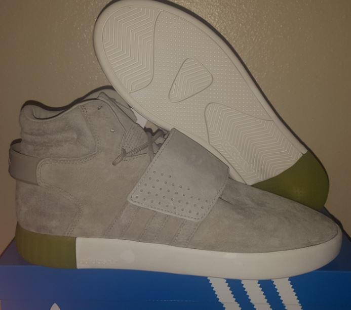 New Adidas Originals Tubular Invader Strap Grey Sesame Suede BB5040 shoes Sz. 11