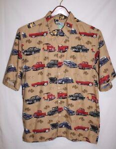 Reyn-Spooner-Mens-LARGE-Hawaiian-Classic-Ford-Lincoln-WOODY-Cars-Shirt-Retro-SS