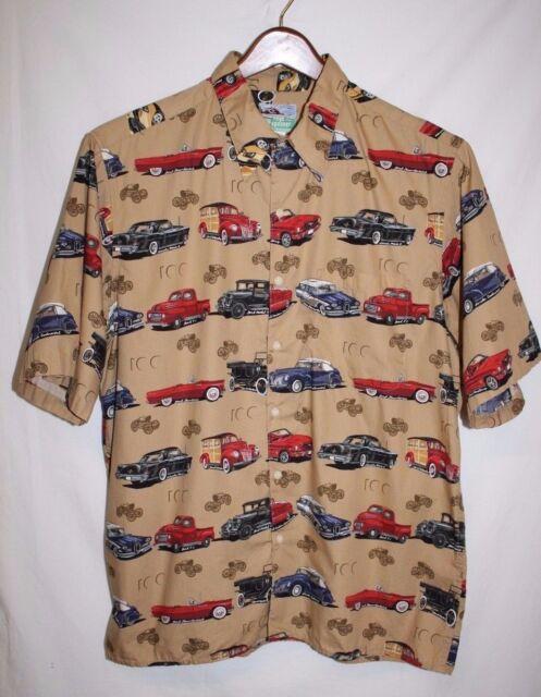 Reyn Spooner Mens LARGE Hawaiian Classic Ford Lincoln WOODY Cars Shirt Retro SS