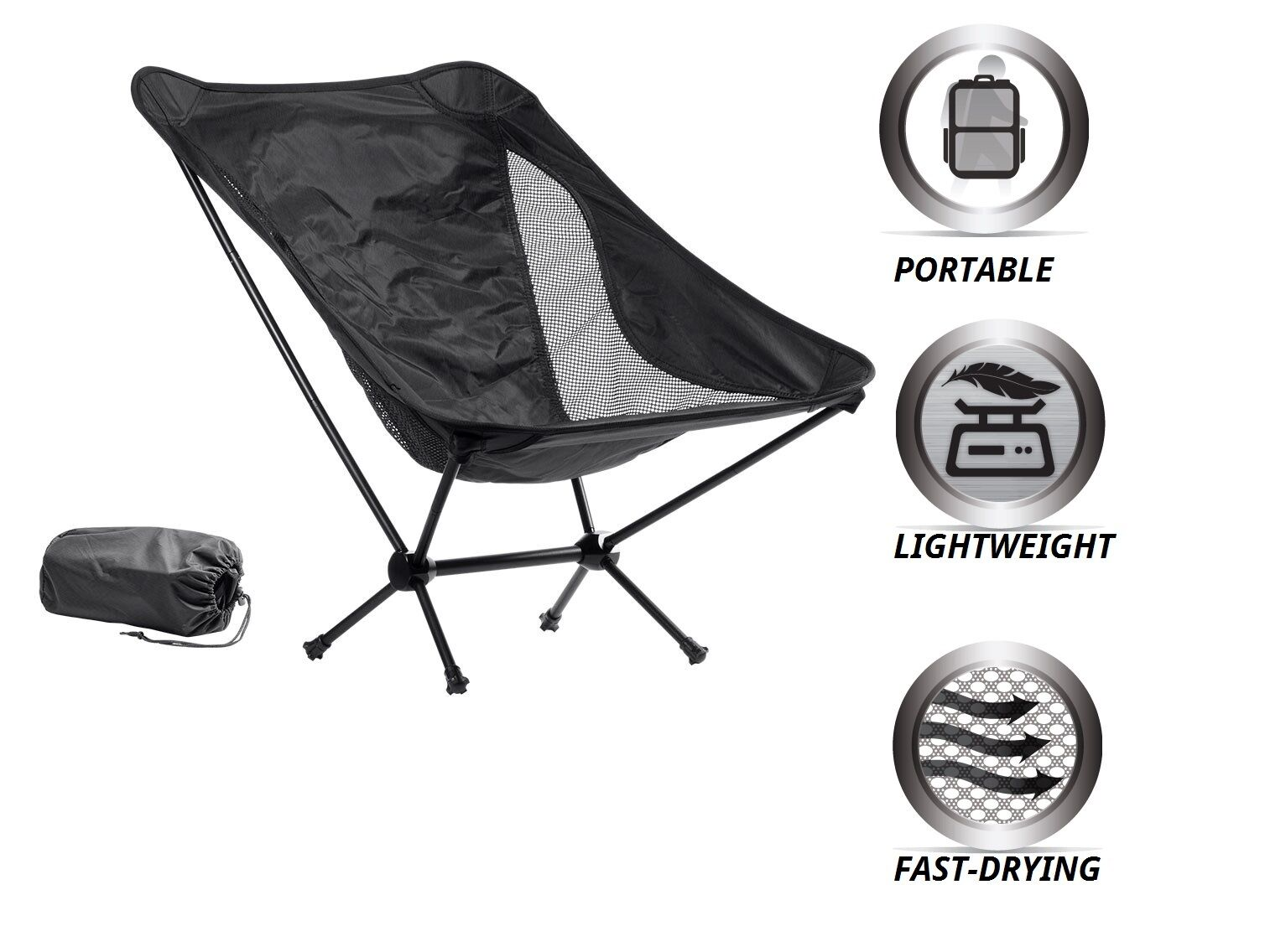 Foldable Chair Travel Outdoor Portable Camping Picnic Garden Beach Fishing BBQ