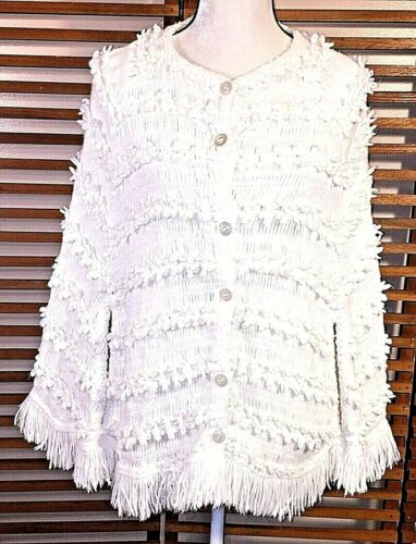 Vintage Chenille Cape Poncho Shawl Off White Fring
