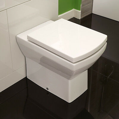 Square Back To Wall Toilet Modern WC White Ceramic Soft Close Seat