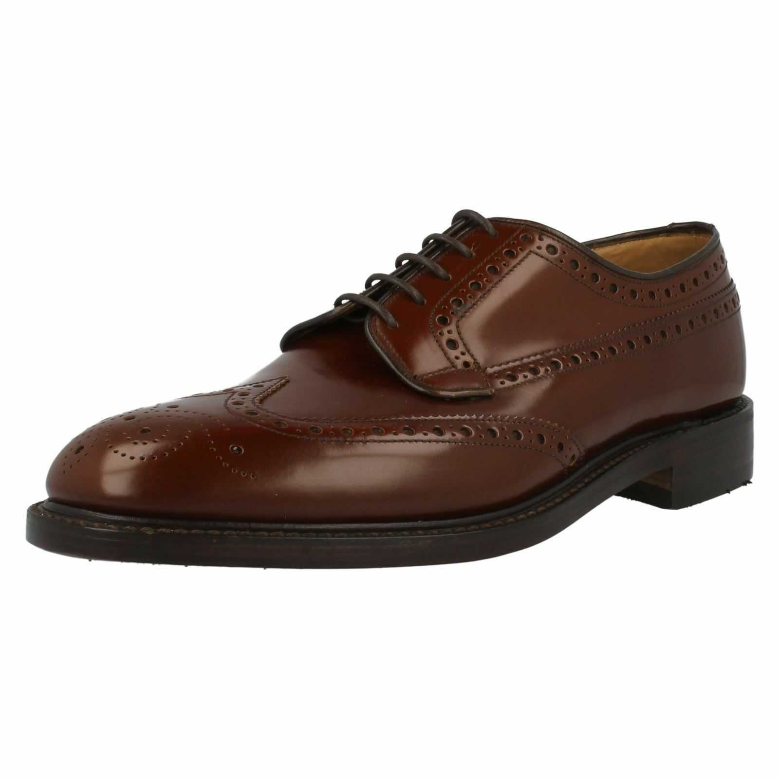 MENS LOAKE BRAEMAR TAN POLISHED LEATHER LACE UP BROGUE SHOES F FITTING