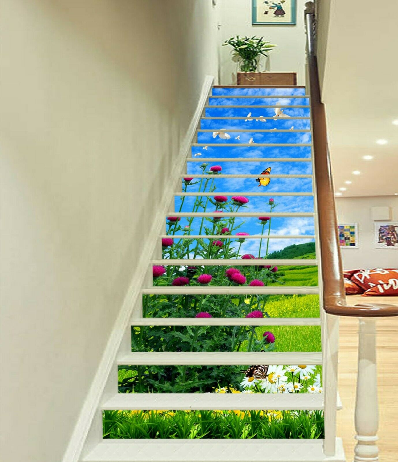 3D Butterfly Prairie AZ31 Stair Risers Decoration Photo Mural Vinyl Wallpaper An