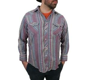 Wrangler-Mens-Long-Sleeve-Western-Shirt-Sz-17-35-L-Vtg-Pearl-Snap-Cowboy-Striped