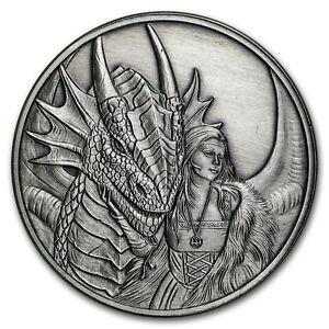 1 oz Silver Antique Round Anne Stokes Dragons (Friend or Foe) - SKU#169503