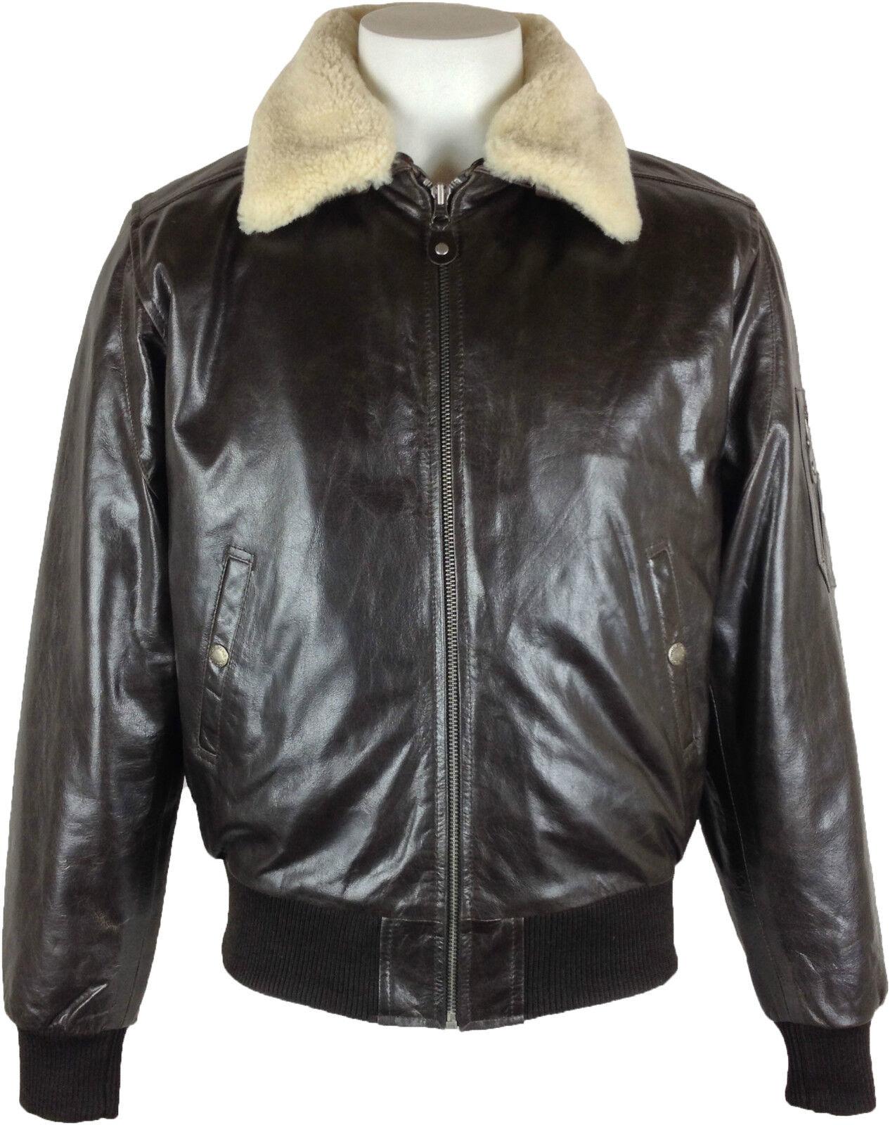 UNICORN Hombres real cuero chaqueta la piloto (Cuello real) Marrón  P2