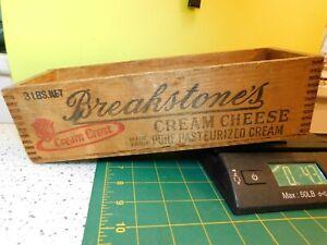 "VINTAGE BREAKSTONE'S CREAM CHEESE 3LB DOVETAIL WOOD BOX 11""X 3 1/2"""