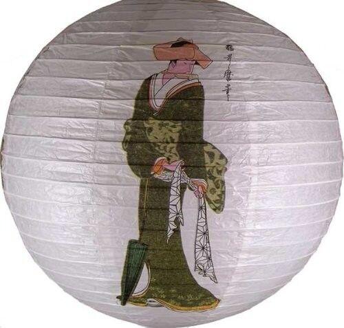 Japanese Geisha Design Round Paper Lantern LAN014