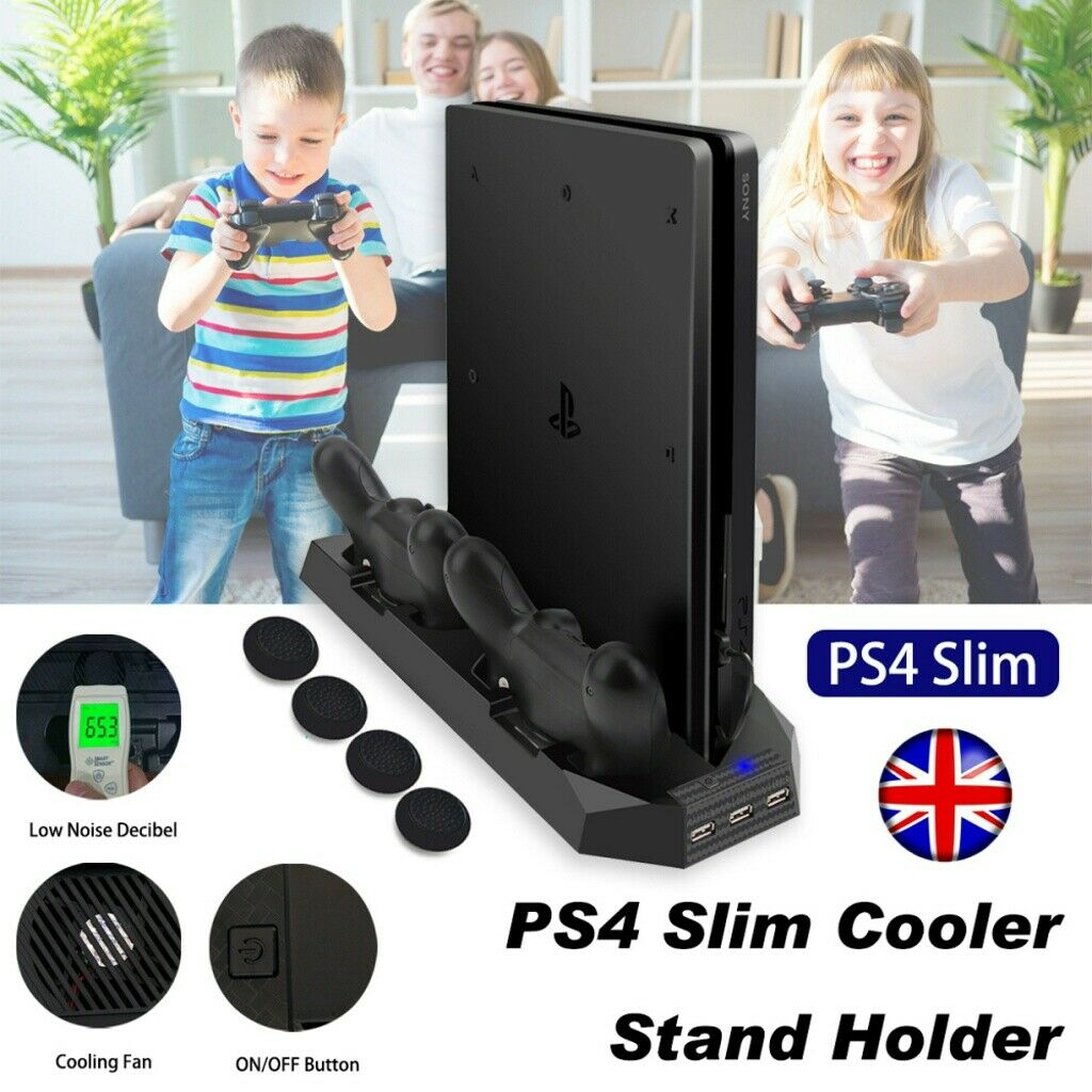 For PS4 SLIM Vertical Cooling Stand with Fan & Dual Controller Charging Dock