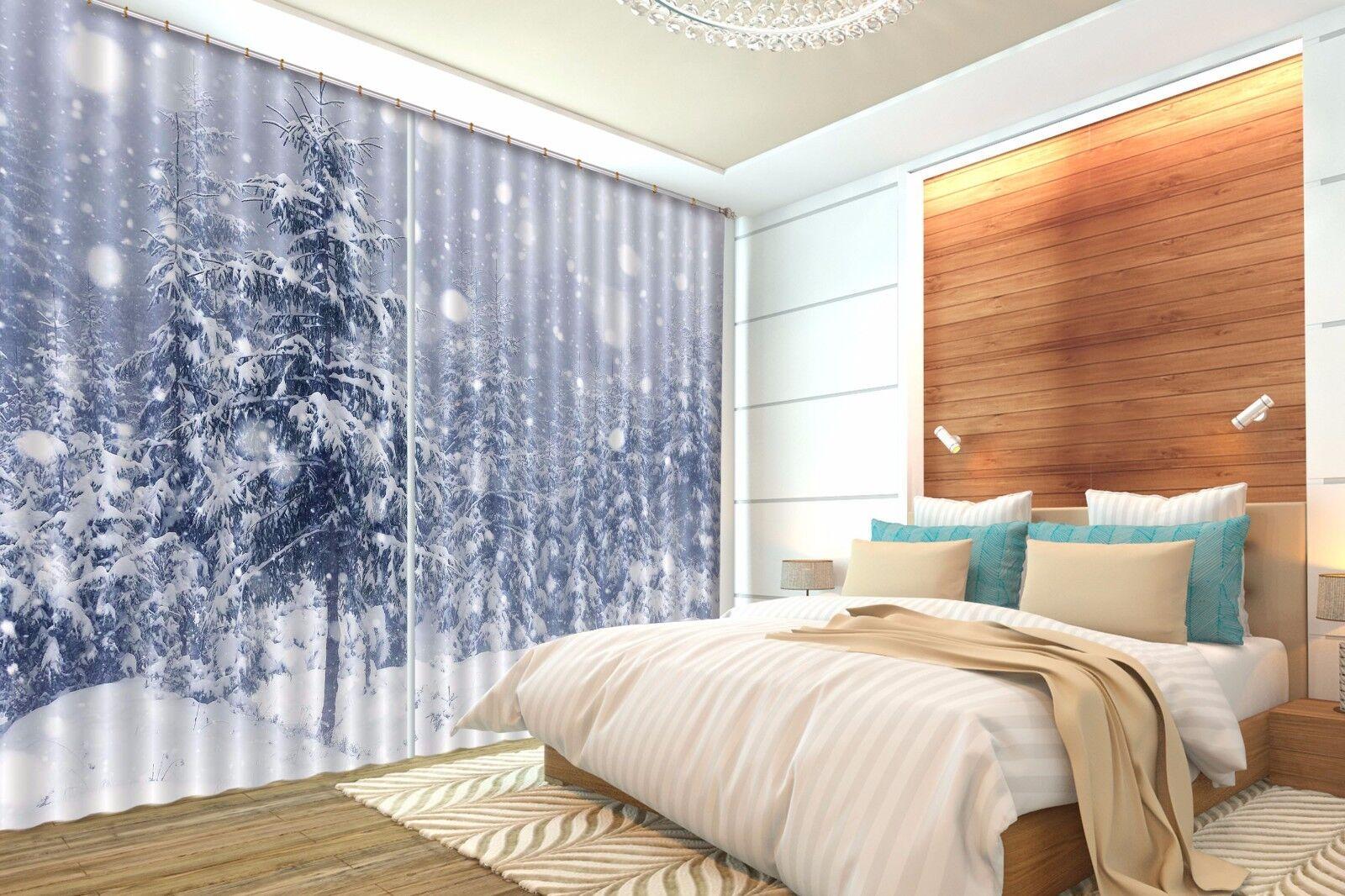 3D árbol de nieve 24 Cortinas de impresión de cortina de foto Blockout Tela Cortinas Ventana au