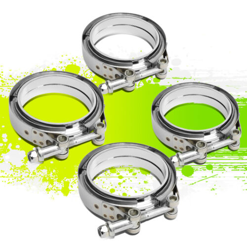 """4PCS 3.5/""""STAINLESS TURBO//INTERCOOLER//DOWN PIPE//DOWNPIPE//HOSE V-BAND CLAMP+FLANGE"""