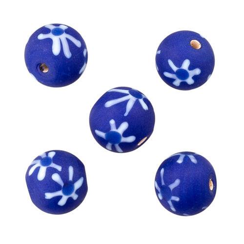 D25//10 PK5 Dark Blue Flower Handmade Round Glass Beads 14mm