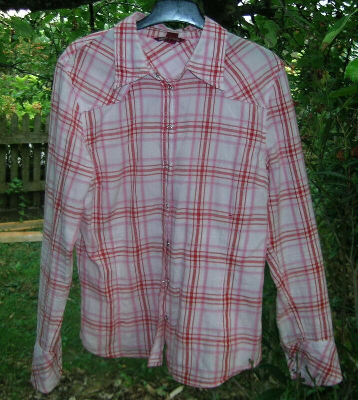 Nachdenklich * Top * H&m L.o.g.g. Hemd Bluse Weiß Rosa Rot Kariert Tailliert Baumwolle S 38