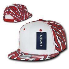 Red White Panel Zebra Animal Print Vintage Snapback Classic Flat Bill Hat Cap