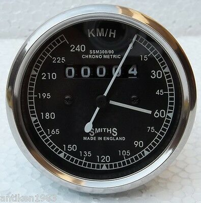 240 KPH Speedometer fits Royal Enfield Smiths Type White Face
