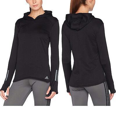adidas Womens Response Climawarm Hoodie Long Sleeve Hooded Running Gym Top Black | eBay