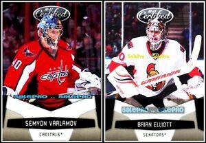 2x-PANINI-CERTIFIED-2010-BRIAN-ELLIOT-103-NHL-SEMYON-VARLAMOV-147-GOALIE-LOT