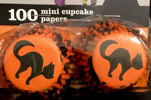 "Sweet Creations 1 1//4/"" mini baking cups black cat 2X100 200 total HALLOWEEN NIP"