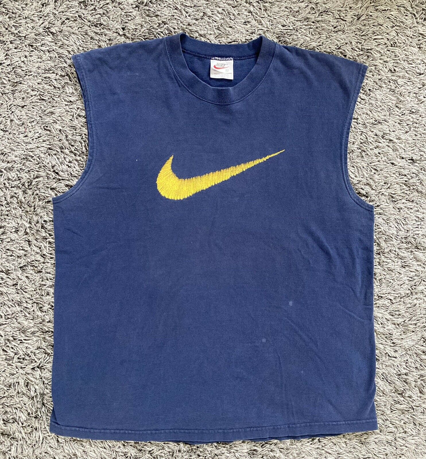 Vintage NIKE Tank Top Cut Off Shirt 1990's Embroidered Look Logo Blue Mens XL