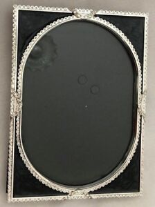 Details About Silvertone Black 6x8 Metal Oval Rhinestone Frame Holds 5x7 Photo