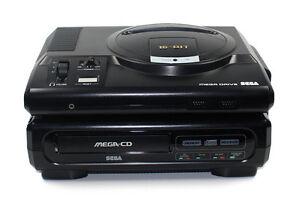 SEGA-MEGA-CD-1-Konsole-mit-Mega-Drive-1-Pad-TV-amp-Stromkabel-TOP