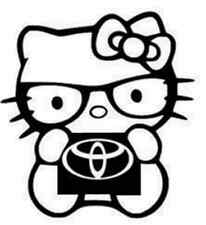 Hello Kitty Toyota die cut vinyl decal--window-laptop-notepad-phone
