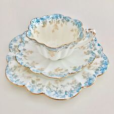 Wileman teacup trio, Ivy Print in turquoise and beige on Empire shape, 1893