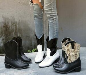 Womens Ladies Fashion Two Tone Mid Calf Pull On Western Cowboy Boots Shoes Skgb by Ebay Seller