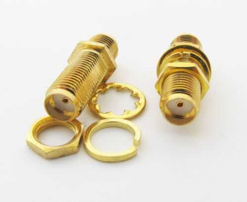 1x Gold SMA Female to SMA Female with Nut Bulkhead RF Coaxial Adapter Connectors