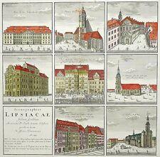LEIPZIG - Sammelblatt - Homann - kol. Kupferstich - 1749