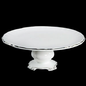 Royal Albert Chantilly Platinum Cake Plate Cake Stand Pedestal Cake Plate Footed Cake Plate