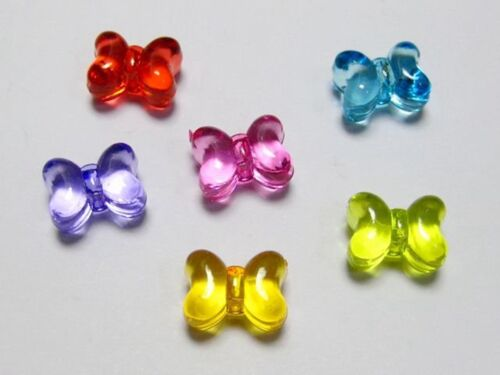 "50 Mixed Colour Transparent Acrylic Butterfly Bow Tie Beads 15X11mm 0.59/""X0.43/"""