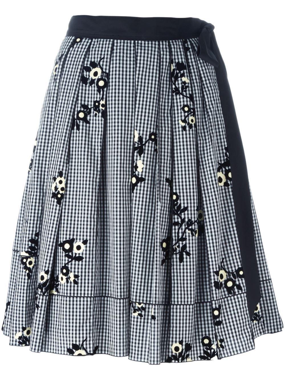 MARC JACOBS Floral Gingham Skirt Mult Sz  625.00