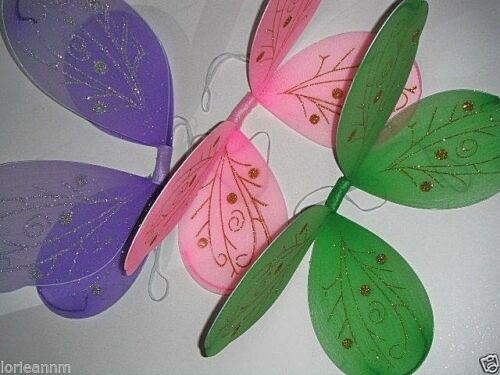 """Large 17/"""" x 15/"""" Enchanted ANGEL FAIRY Costume Halloween Girl/'s BUTTERFLY WINGS"""