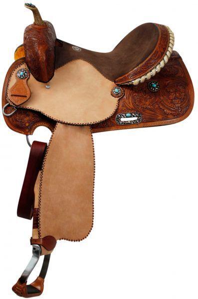 15  Medium Oil Tooled Leather Barrel Saddle  Suede Seat Turquoise Stone Conchos  wholesale store