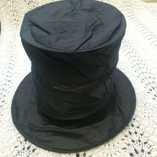 Tall Collapsible SNOWMAN BLACK MAGIC TOP HAT Cosplay Magician Costume Photo Prop