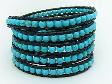 Men Women Turquoise beads 5 Wrap Bracelet Real  leather  fashion bracelet