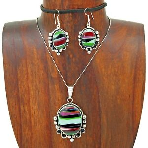 Artisan-Multicolor-Sandstone-Pendant-Earring-Set-Taxco-Mexico