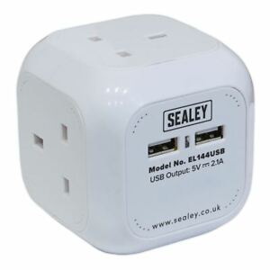 Sealey-Mains-Extension-Lead-Cable-Cube-1-4mtr-4-Gang-Plus-2-x-USB-Sockets
