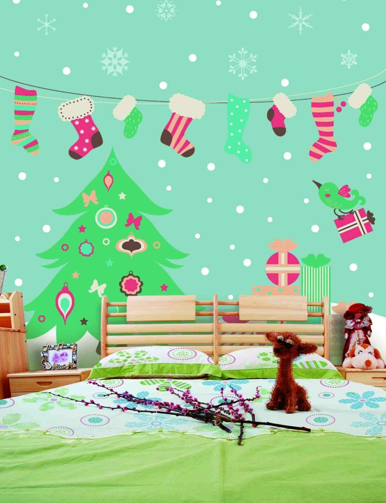 3D Christmas tree cartoon Wall Paper Print Decal Wall Deco Wall Indoor Murals